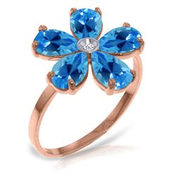 Genuine 2.22 ctw Blue Topaz & Diamond Ring Jewelry 14KT Rose Gold - REF-35V9W