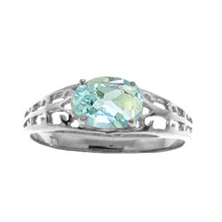 Genuine 1.15 ctw Aquamarine Ring Jewelry 14KT White Gold - REF-35K2V