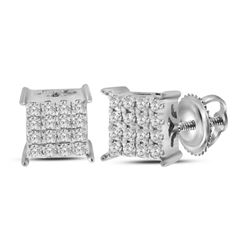 0.23 CTW Diamond Square Cluster Earrings 10KT White Gold - REF-22N4F