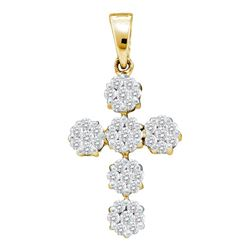 0.50 CTW Diamond Cluster Cross Pendant 14KT Yellow Gold - REF-44M9H