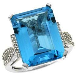 Natural 12.14 ctw Swiss-blue-topaz & Diamond Engagement Ring 14K White Gold - REF-66W2K