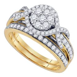 1.01 CTW Diamond Cluster Bridal Engagement Ring 14KT Yellow Gold - REF-116M9H