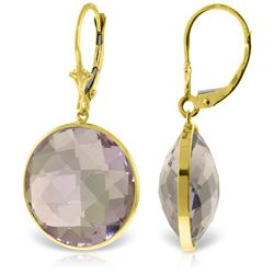 Genuine 36 ctw Amethyst Earrings Jewelry 14KT Yellow Gold - REF-80X4M