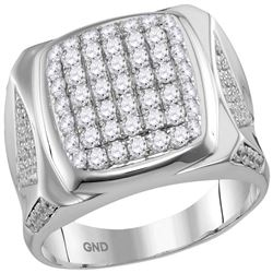 2 CTW Mens Diamond Square Cluster Ring 10KT White Gold - REF-138X2Y