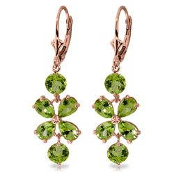 Genuine 5.32 ctw Peridot Earrings Jewelry 14KT Rose Gold - REF-50V3W