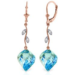 Genuine 27.82 ctw Blue Topaz & Diamond Earrings Jewelry 14KT Rose Gold - REF-92Y2F