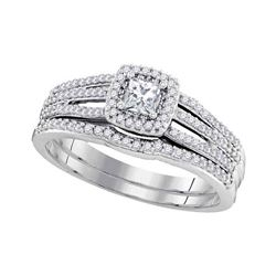 0.50 CTW Princess Diamond Bridal Engagement Ring 10KT White Gold - REF-58N4F