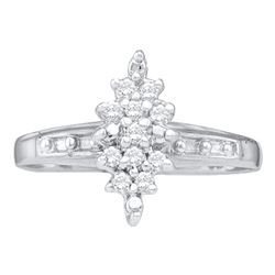 0.10 CTW Diamond Cluster Ring 10KT White Gold - REF-11W2K