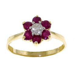 Genuine 0.50 ctw Ruby & Diamond Ring Jewelry 14KT Yellow Gold - REF-42Y2F