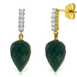 Genuine 25.95 ctw Green Sapphire Corundum & Diamond Earrings Jewelry 14KT Yellow Gold - REF-51A2K