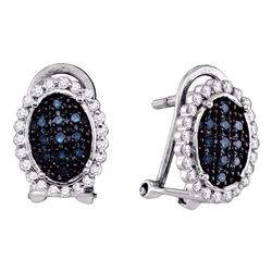 0.33 CTW Blue Color Diamond Oval Cluster Earrings 10KT White Gold - REF-20M9H
