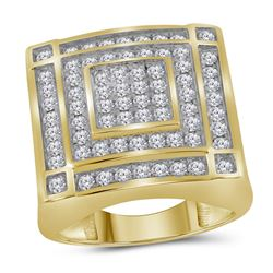 1.76 CTW Mens Diamond Square Cluster Ring 10KT Yellow Gold - REF-142X4Y