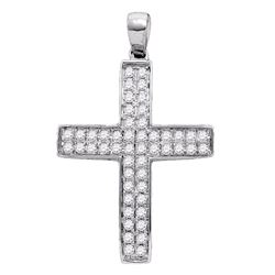 0.52 CTW Diamond Cross Pendant 10KT White Gold - REF-41X9Y