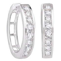 1 CTW Diamond Hoop Earrings 14KT White Gold - REF-89F9N