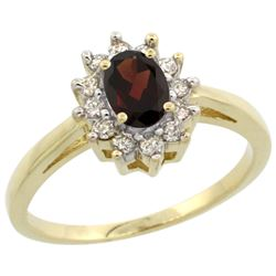Natural 0.67 ctw Garnet & Diamond Engagement Ring 10K Yellow Gold - REF-38X8A