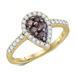 0.50 CTW Cognac-brown Color Diamond Cluster Ring 10KT Yellow Gold - REF-34M4H