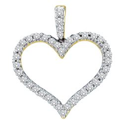 0.45 CTW Diamond Classic Heart Outline Pendant 14KT Yellow Gold - REF-48M7H