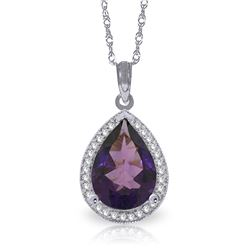 Genuine 3.41 ctw Amethyst & Diamond Necklace Jewelry 14KT White Gold - REF-69K6V