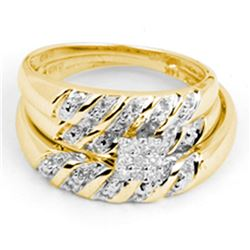 0.09 CTW His & Hers Diamond Cluster Matching Bridal Ring 14KT Yellow Gold - REF-37M5H