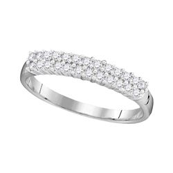 0.30 CTW Prong-set Diamond Double Row Ring 10KT White Gold - REF-16Y4X