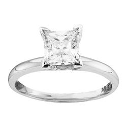 1 CTW Princess Diamond Solitaire Bridal Engagement Ring 14KT White Gold - REF-269M9H