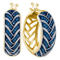 0.33 CTW Blue Color Diamond Milgrain Hoop Earrings 10KT Yellow Gold - REF-52Y4X
