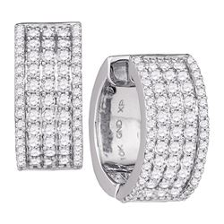 1.68 CTW Diamond Huggie Earrings 10KT White Gold - REF-134N9F