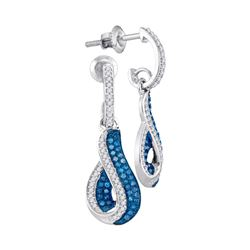 0.40 CTW Blue Color Diamond Teardrop Dangle Earrings 10KT White Gold - REF-37H5M