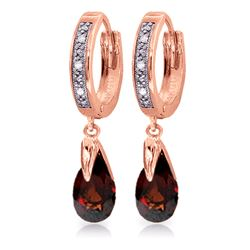 Genuine 2.53 ctw Garnet & Diamond Earrings Jewelry 14KT Rose Gold - REF-60K4V