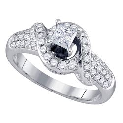 0.88 CTW Princess Diamond Solitaire Swirl Bridal Engagement Ring 14KT White Gold - REF-127Y4X