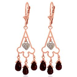 Genuine 6.33 ctw Garnet & Diamond Earrings Jewelry 14KT Rose Gold - REF-52T3A