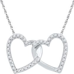 0.16 CTW Diamond Double Linked Heart Pendant 10KT White Gold - REF-12Y2X