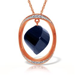 Genuine 15.35 ctw Sapphire & Diamond Necklace Jewelry 14KT Rose Gold - REF-124P2H
