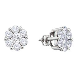 2 CTW Diamond Flower Screwback Stud Earrings 14KT White Gold - REF-240N2F