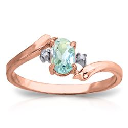 Genuine 0.46 ctw Aquamarine & Diamond Ring Jewelry 14KT Rose Gold - REF-29F3Z