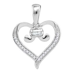 0.08 CTW Diamond Bound Tied Heart Love Pendant 10KT White Gold - REF-11M2H