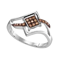 0.15 CTW Cognac-brown Color Diamond Square Cluster Ring 10KT White Gold - REF-13H4M
