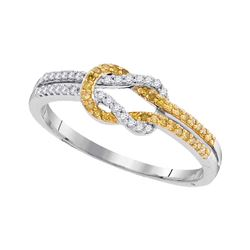0.19 CTW Yellow Color Diamond Knot Lasso Ring 10KT White Gold - REF-19N4F