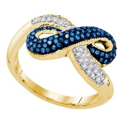 0.36 CTW Blue Color Diamond Infinity Ring 10KT Yellow Gold - REF-32K9W