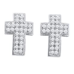0.15 CTW Diamond Cross Stud Earrings 10KT White Gold - REF-14W9K