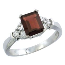 Natural 1.48 ctw garnet & Diamond Engagement Ring 10K White Gold - REF-43N3G