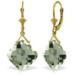 Genuine 17.5 ctw Green Amethyst Earrings Jewelry 14KT Yellow Gold - REF-39A3K