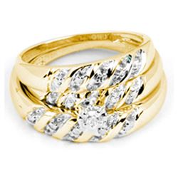 0.07 CTW His & Hers Diamond Solitaire Matching Bridal Ring 14KT Yellow Gold - REF-44H9M