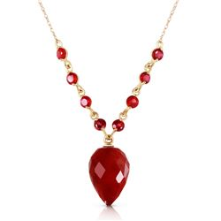 Genuine 14 ctw Ruby Necklace Jewelry 14KT Yellow Gold - REF-42H2X