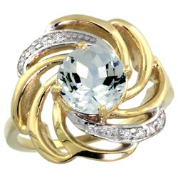 Natural 2.25 ctw aquamarine & Diamond Engagement Ring 14K Yellow Gold - REF-68W5K