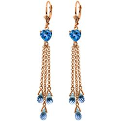 Genuine 9.5 ctw Blue Topaz Earrings Jewelry 14KT Rose Gold - REF-62R2P