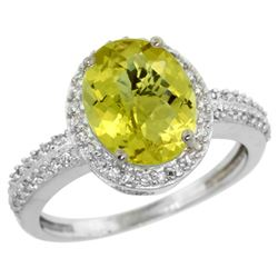 Natural 2.56 ctw Lemon-quartz & Diamond Engagement Ring 14K White Gold - REF-41W2K