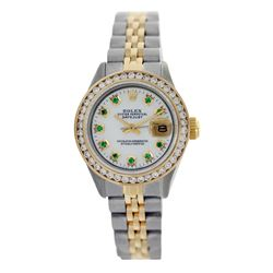 Rolex Pre-owned 26mm Womens Custom White Mother of Pearl Two Tone - REF-530X3K