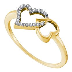 0.07 CTW Diamond Joined Linked Heart Ring 10KT Yellow Gold - REF-8M2H