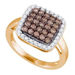 1.05 CTW Cognac-brown Color Diamond Square Cluster Ring 10KT Rose Gold - REF-64H4M